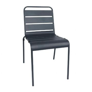 Slatted Steel Sidechair - Grey